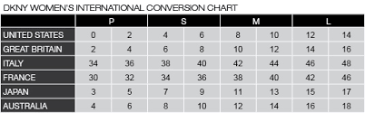 Italian Jeans Size Conversion Chart Dkny Size Chart