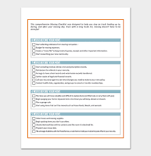Moving Checklist Template 20 Free Printable For Word