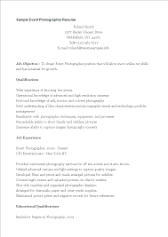 Event Photographer Resume Sample Templates At