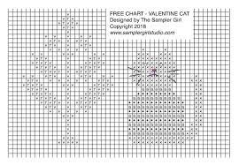 The Sampler Girl Blog Valentine Cat Free Chart