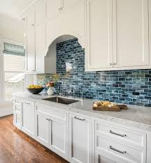 Kitchen Cabinet Backsplash Interesting Amazing Blue Kitchen Backsplash White And Feature Shaker Cabinet