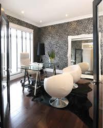 wallpapered office home design. Atmosphere Interior Design: White \u0026 Black Modern Office Design With Wallpaper, Polished Chrome . Wallpapered Home