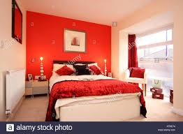 Bedroom Bright Lights Home Interior Bedroom In Bright Red Feature Wall Bed