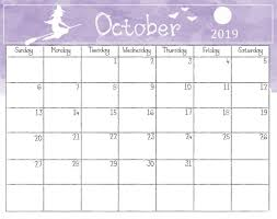 2019 October Calendar Watercolor October 2019 Calendar Calendar 2018 Calendar 2019