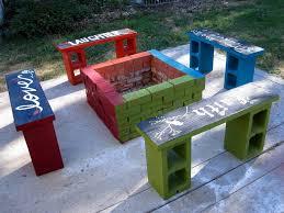 concrete block furniture ideas. Inspirational And Colorful Cinder Block Fire Pit Gathering Concrete Furniture Ideas N