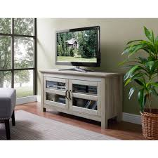 Walker Edison Furniture Company 44 In Wood TV Media Stand Storage Console   White Oak White And Wood Tv Stand T43
