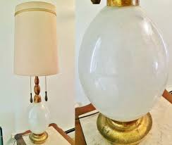 vtg white art glass egg lamp seguso murano italy marbro hollywood regency mcm