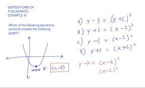 vertex form of a quadratic example 4