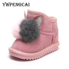 2019 winter baby toddler girl boots children genuine leather boots real fur ball decoration warm plush