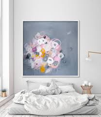 abstract painting print grey and pink