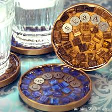 mosaic cocktail coasters glass tile running with sisters bar diy coaster craft bathroom floor tiles cup making clear for crafts personalized photo