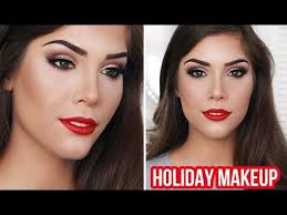 holiday glam makeup tutorial winged liner brown eyes red lips you