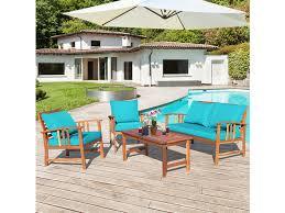 costway 4 piece wooden patio furniture