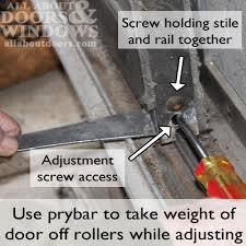 how to adjust sliding door rollers