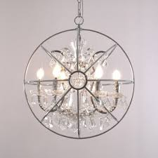 modern romantic clear crystal metal scroll 6 light pendant globe chandelier in chrome