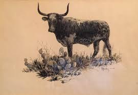 g harvey longhorn pencil drawing western