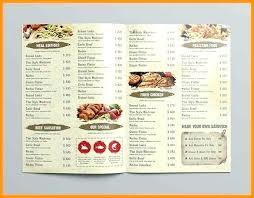 A La Carte Menu Template Restaurant Food Free Menu Templates Design Free Fold