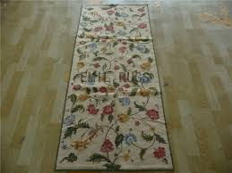 needlepoint area rugs runner 2 5 x 6 ivory field ivory border 100 wool european french hand stitched gc32nee3