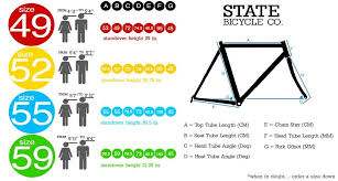 Fixed Gear Bike Frame Size Chart Bike Size Guide Fixie Single Speed Bikes Fixed Gear
