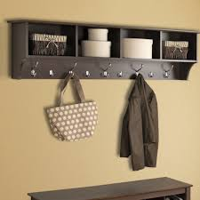Wall Coat Rack Ideas Decorations Nice Looking Hall Bench With White Wicker Basket 15