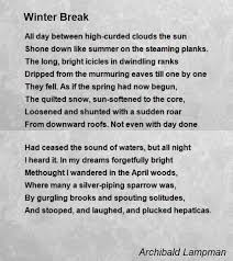 winter break poem by archibald lampman poem hunter