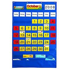 Classroom Calendar Pocket Chart Amazon Com Lauri Calendar Pocket Chart English Spanish