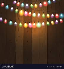 Wood With Lights Christmas Lights On Wooden Background