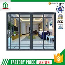 customized design aluminum 3 panel sliding glass door