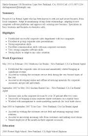 Resume Templates: Car Rental Agent