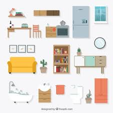 creative furniture icons set flat design. Home Furniture Icons Creative Set Flat Design