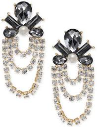 inc international concepts i n c gold tone crystal stone imitation pearl chandelier earrings