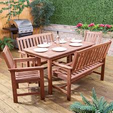 monaco rectangular wooden garden dining set table
