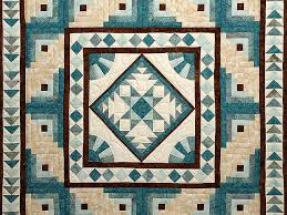 Flying Geese Log Cabin Medallion Quilt -- splendid adeptly made ... & ... Teal and Brown Flying Geese Log Cabin Medallion Quilt Photo 3 ... Adamdwight.com