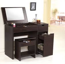small modern brown laminate makeup vanity table with drawer and makeup storage under fold up mirror plus stool with shelves and storage ideas