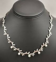 14k white gold diamond pearl necklace
