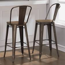 rustic bar stools.  Rustic Rustic Bar Stool Set Of 2 Industrial Vintage Bronze Wood Seat Kitchen  Chairs  EBay Intended Stools L
