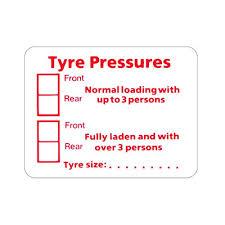 Tyre Pressure Sticker Label 60mm X 48mm Caravan Motorhome