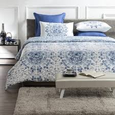 tiffany wrinkle resistant reversible print 100 organic cotton blue white queen duvet cover set