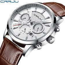 CRRJU New <b>Fashion Men</b> Watches Analog Quartz Wristwatches ...