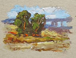 miniature oil painting palette knife landscape by tom brown