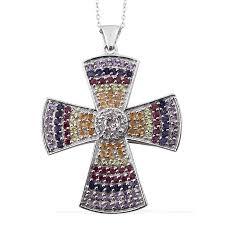 espirito santo aquamarine multi gemstone platinum over sterling silver cross pendant with chain 20