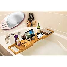 ADORN Bamboo Bathtub Caddy Bath Tub Tray | Natural color | Expands up to 43