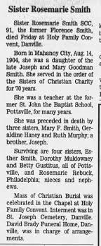 Sr Rosemarie Smith, SCC, 91, d.Jul 4 at Holy Family Convent, -  Newspapers.com