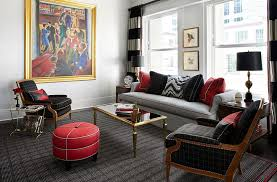 red black and white interiors living