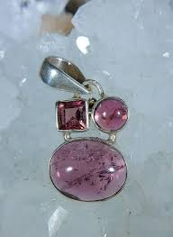 tourmaline pink three stone pendant in sterling silver heaven nature