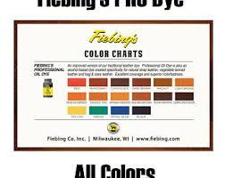 Fiebings Suede Dye Color Chart Leather Dye Etsy