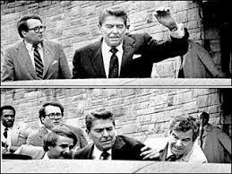「On March 30, 1981, President Ronald Reagan is shot in the chest outside a Washington, D.C., hotel by a deranged drifter named John Hinckley Jr.」の画像検索結果