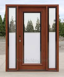 wood and glass door with blinds