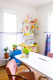 colorful home office. Colorful Home Office With Pink Chairs And Prop Shelves
