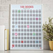 100 books scratch bucket list poster 30th birthday gifts